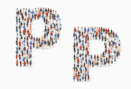 Grand groupe de personnes sous forme de lettre P. Arrière-plan transparent de vecteur Vecteurs