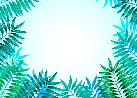 Cornice di foglie tropicali colorate. Concetto della giungla per la progettazione di inviti, biglietti di auguri e sfondi.