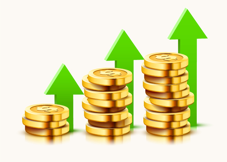 Growing stack of golden dollar coins with rising arrow isolated on white background. Economics concept. Vector illustration