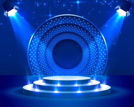 Bühnenpodest mit Beleuchtung, Bühnenpodest-Szene mit für Preisverleihung auf blauem Hintergrund, Vektorillustration