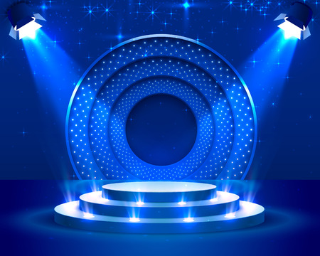 Podio del palco con illuminazione, scena del podio del palco con per la cerimonia di premiazione su sfondo blu, illustrazione vettoriale