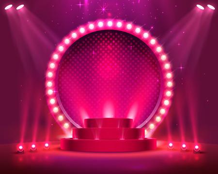 Podium de scène avec éclairage, scène de podium avec pour cérémonie de remise de prix sur fond rouge, illustration vectorielle