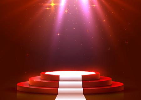 Podio redondo abstracto con alfombra blanca iluminada con foco. Concepto de ceremonia de premiación. Telón de fondo del escenario. Ilustración vectorial