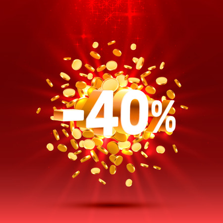 Podium action with share discount percentage 40. Vector illustration