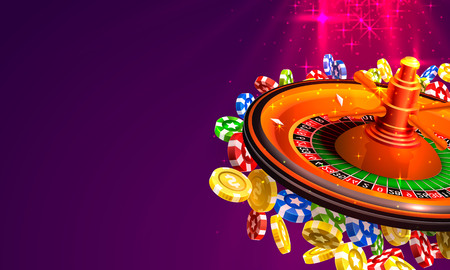 Casino roulette big win coins on the red background. Vector illustration