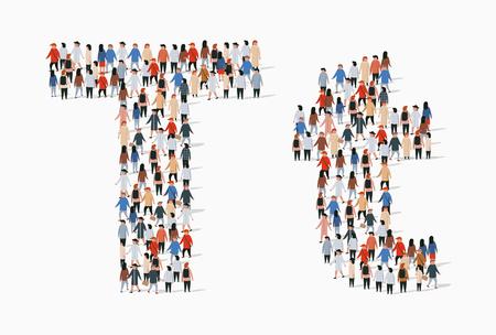 Grand groupe de personnes sous forme de lettre T. Arrière-plan transparent de vecteur