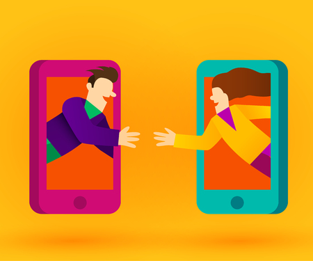 People connecting with smart phones or internet. Social network concept. Vector illustration