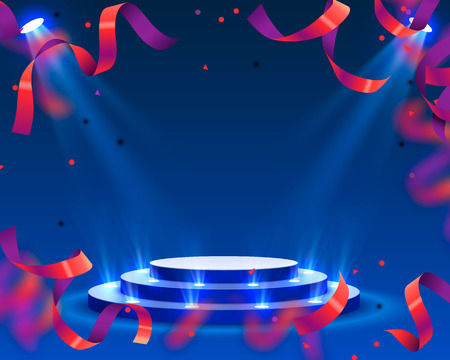 Stage podium with lighting confetti, Stage Podium Scene with for Award Ceremony on red Background. Vector illustration Vectores