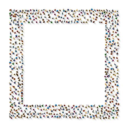 Eine Gruppe von Personen in einer Form des Rahmenbanners, lokalisiert auf weißem Hintergrund. Vektorillustration