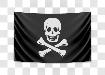 Hanging pirate flag. Happy roger. Vector illustration