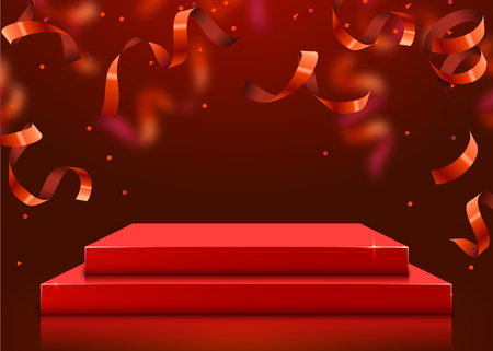 Abstract round podium illuminated with spotlight. Award ceremony concept. Stage backdrop. Vector illustration