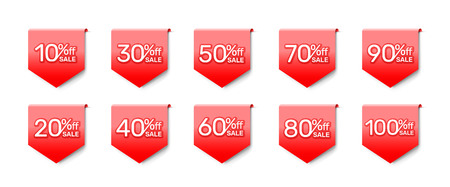 Sticker red banner, collection off with share discount percentage. Vector illustration