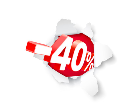 Paper explosion banner 40 off with share discount percentage. Vector illustration