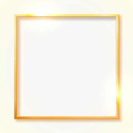 Gold shiny vintage border isolated on white background. Golden luxury realistic rectangle frame. Vector illustration Stock Illustratie