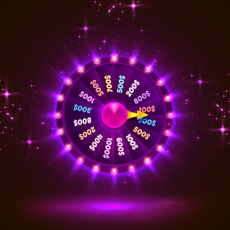 Neon colorful fortune wheel. purple background. Vector illustration Illustration