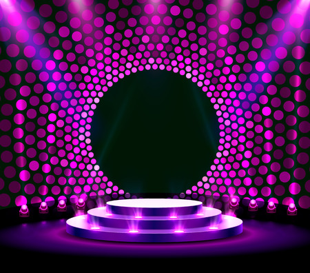 Stage podium with lighting, Stage Podium Scene with for Award Ceremony on purple Background. Vector illustration