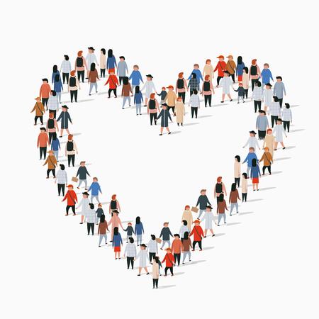 Gran grupo de personas en forma de signo de corazón. Ilustración vectorial
