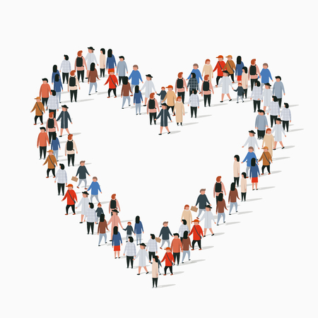 Large group of people in the heart sign shape. Vector illustration