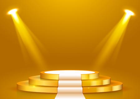 Streszczenie okrągłe podium z białym dywanem oświetlonym reflektorami. Koncepcja ceremonii wręczenia nagród. Tło sceny. Ilustracja wektorowa