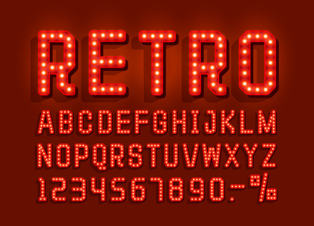 Retro font vintage, light sign set. Vector illustration