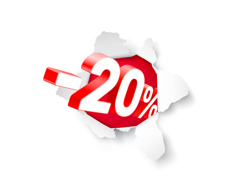 Paper explosion banner 20 off with share discount percentage. Vector illustration