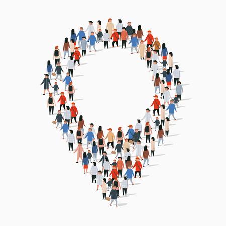Large group of people crowded in form of map pointer. Vector illustration Ilustração Vetorial