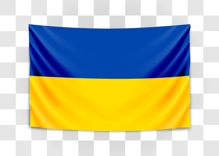 Hanging flag of Ukraine. Ukraine. National flag concept. Vector illustration.