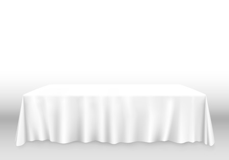 Table with tablecloth art banner, white background. Vector illustration