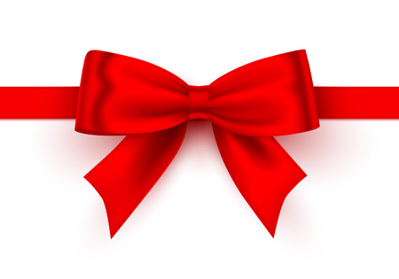 Bow red tape on the white background. Vector illustration