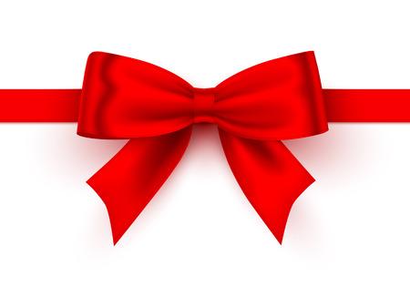Ruban rouge d'arc sur le fond blanc. Illustration vectorielle