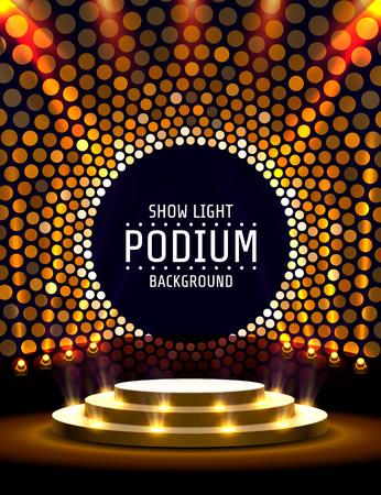 Stage podium with lighting, Stage Podium Scene with for Award Ceremony on golden Background. Vector illustration