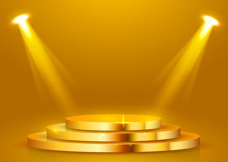 Podio redondo abstracto iluminado con foco. Concepto de ceremonia de premiación. Telón de fondo del escenario. Ilustración vectorial Ilustración de vector