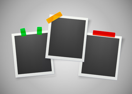 Collection of blank photo frames with adhesive tape. Vector illustration
