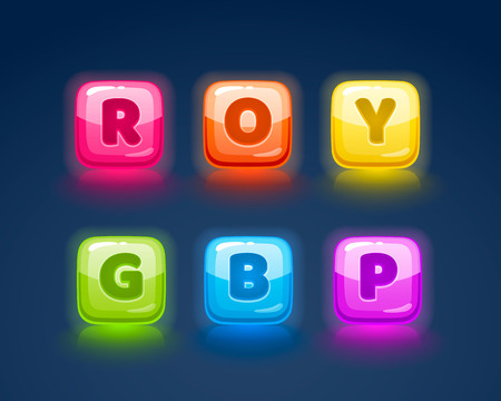 Game match icon. Square set in different colors. Vector illustration Ilustração