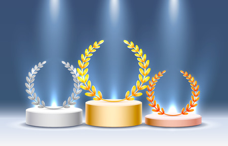 Stage podium with lighting, Stage Podium Scene with for Award Ceremony on blue Background, Vector illustration 向量圖像