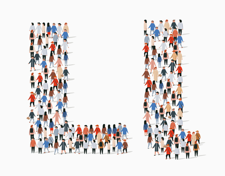 Grand groupe de personnes sous forme de lettre L. Arrière-plan transparent de vecteur Vecteurs