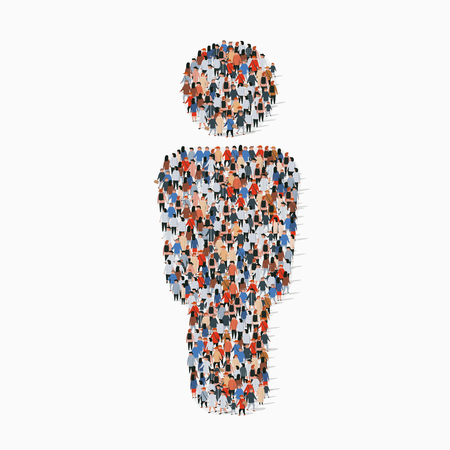 Large group of people in people sign shape. Vector illustration