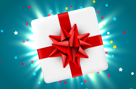 Gift box and magic light fireworks and confetti Christmas background. Vector illustration