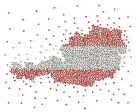 Large group of people in the shape of Austria flag. Republic of Austria. Vector illustration