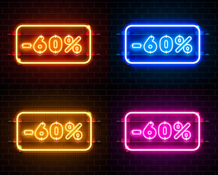 Neon 60 off text banner color set. Night Sign. Vector illustration 일러스트