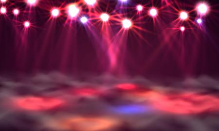 Dance floor banner, Light and smoke on stage. Vector illustration Illustration