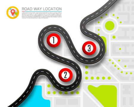 Camino pavimentado en el fondo de la ubicación de la carretera.