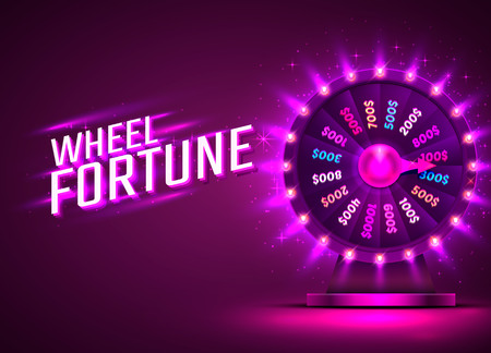Casino neon colorful fortune wheel. purple background. Vector illustration Illustration
