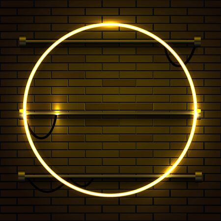 Neon lamp circle frame on brick wall background. Las Vegas concept.