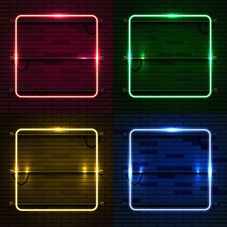 Neon lamp casino rectangel frame on brick wall background. Las Vegas concept.
