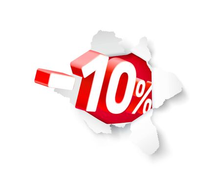 Paper explosion banner 10 off with share discount percentage. Vector illustration Illustration