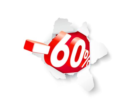Paper explosion banner 60 off with share discount percentage. Vector illustration Illustration