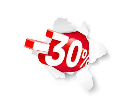 Paper explosion banner 30 off with share discount percentage. Vector illustration