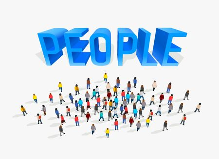 Big people crowd on white background. Vector illustration. Ilustração