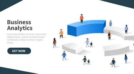 People interacting with charts and analysing statistics and data. Landing page template. Vector illustration Illusztráció